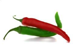 Rote und grüne Paprikapfeffer Stockfotografie