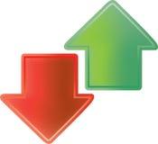 Rote und grüne Pfeile Lizenzfreie Stockfotografie