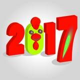 Rote und grüne Zahl des Ikonenbildes eines zwei tausend siebzehnten Jahres 2017 auf weißem fone simvol Weihnachten ein apetukh Lizenzfreie Stockfotografie