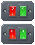 Rote und grüne Schalter Lizenzfreies Stockfoto