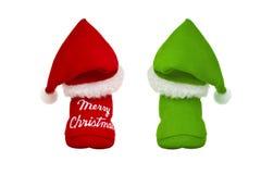 Rote und grüne Weihnachtsmann-Rückseite Lizenzfreie Stockbilder