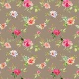 Rote und rosa und grüne Blumenverzierung des heiratenden Musters des Brautblumenstraußes nahtlosen lizenzfreie stockfotos