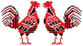 Rote und schwarze Hähne Stockfotografie