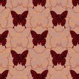 Rote und schwarze Jeansschmetterlinge und ihre Schattenbilder im Pastellhintergrund mit goldenen Locken Nahtloses Muster Stockfotografie