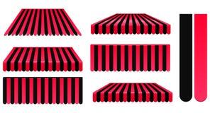 Rote und schwarze Markisen Stockfotografie