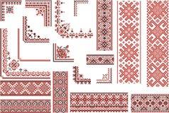 Rote und schwarze Muster für Stickerei-Stich Stockfotografie