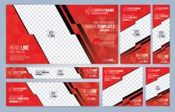 Rote und schwarze Netzfahnenschablonen stockbilder