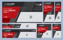 Rote und schwarze Netzfahnenschablonen lizenzfreies stockbild