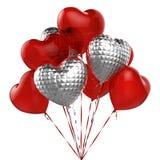 Rote und silberne Ballone in Form des Herzens Vektor Abbildung