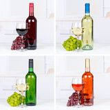 Rote und weiße Flaschen-Getränkeweinsammlung des rosafarbenen Weins stockfoto