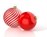Rote und weiße glänzende wellenartig bewegte und rote Weihnachtsbälle Abbildung 3D stock abbildung