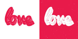Rote und weiße Liebesbeschriftungskarte Lizenzfreies Stockfoto
