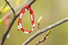 Rote und weiße Martisor-Dekoration, die an einem Baum hängt Lizenzfreie Stockbilder