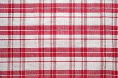 Rote und weiße Tischdecke Stockfotos