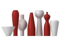 Rote und weiße Vasen Lizenzfreie Stockfotografie