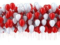 Rote und weiße Parteiballone Stockfoto