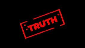 Rote unterzeichnete Gummitintenstempel Wahrheit summen herein laut und summen heraus mit Transparenzhintergründen des Alphakanals stock video