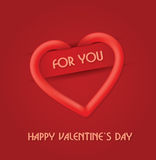 Rote Valentinsgruß-Karte Stockbild