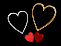 Rote Valentinsgrußinnere mit Innerfeldern Stockfotos