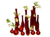 Rote Vasen auf weißem Hintergrund Stockbild