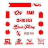 Rote Vektor-Rabatt-Tags, Einkaufsikonen, Supermarkt-Laufkatze, Flugzeugtransparent lokalisiert auf weißem Hintergrund schwarzes Lizenzfreie Stockfotografie