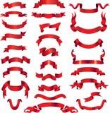 Rote vektorfarbbänder auf Fahnen Stockfotografie
