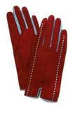 Rote Veloursleder-Entwerfer-Handschuhe stockfotografie