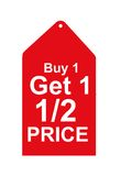Rote Verkaufs-Marke Stockfoto