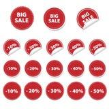 Rote Verkaufsaufkleber Stockfotografie