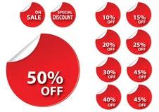Rote Verkaufsmarke des Kreises Stockbild