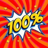 Rote Verkaufsnetzfahne Prozent 100 des Verkaufs hundert weg auf einer Comicspop-arten-Art-Knallform auf rotem verdrehtem Hintergr Lizenzfreie Stockfotografie