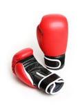 Rote Verpacken-Handschuhe Stockfoto
