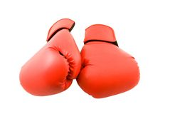Rote Verpacken Handschuhe (getrennt) Stockbild