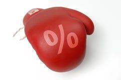 Rote Verpackenhandschuhprozente lizenzfreie stockfotos