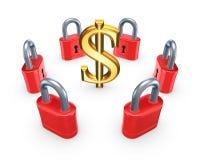 Rote Verschlüsse um Symbol des Dollars. Lizenzfreies Stockbild