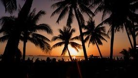 Rote vibrierende Farben Strand und Sonnenunterganghimmel Palmeschattenbild auf Sonnenuntergang tropisches beach stockfotografie