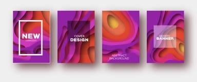 Rote Violet Paper Cut Wave Shapes Überlagerter Kurve Origami entwirft für Geschäftsdarstellungen, Flieger, Poster Satz von 4 Stockbild