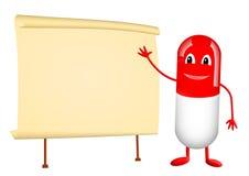 Rote Vitaminkapsel und Papierrolle Lizenzfreie Stockfotografie