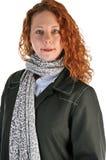 Rote vorangegangene Geschäftsfrau stockfotografie