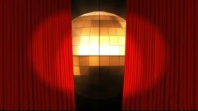Rote Vorhänge öffnen sich und Discoball lizenzfreie abbildung