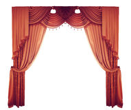 Rote Vorhänge auf einem weißen Hintergrund Stockbild