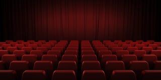Rote Vorhänge und Sitze des geschlossenen Theaters 3d lizenzfreie stockfotografie