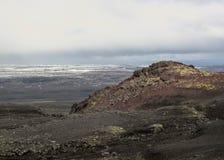 Rote vulkanische Steine, Moos und schmelzender Gletscher auf dem Hintergrund, Kverkfjoll, Hochländer von Island, Europa stockbild