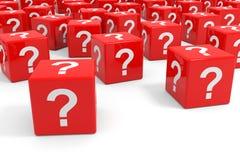 Rote Würfel mit Fragezeichen. lizenzfreie abbildung