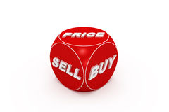 Rote Würfel mit Kauf, Verkauf, Preiswörter. Stockbild