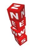 Rote Würfel mit Nachrichtenwort Stockbilder