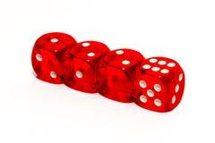 Rote Würfel mit Zahlen Stockfotografie