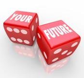 Rote Würfel - Spielen Ihrer Zukunft Lizenzfreie Stockfotos
