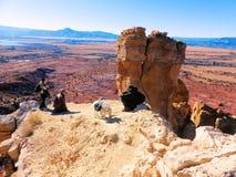 Rote Wüste hinter Kaminfelsen stockbild