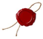 Rote Wachsdichtung oder -stempel mit Seil oder -faden lokalisiert Lizenzfreie Stockfotos